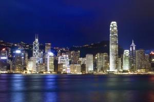 Victoria, Hong Kong Island, Hong Kong, China --- Hong Kong Skyline at night --- Image by © Top Photo Corporation/Top Photo/Corbis