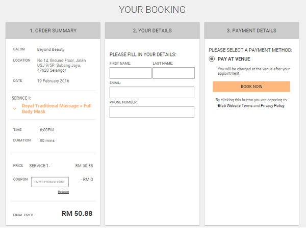 Bfab - Confirm Booking