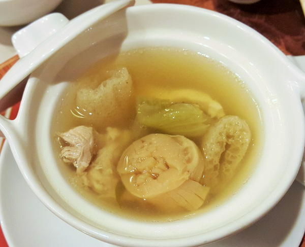 Double-boiled chicken and vegetabe soup with fish maw and sun-dried scallops - Tai Zi Heen, Pullman KLCC