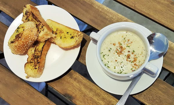 Garlic Bread & Hazelnut Mushroom Soup - Hazelnut Coffee & Bar