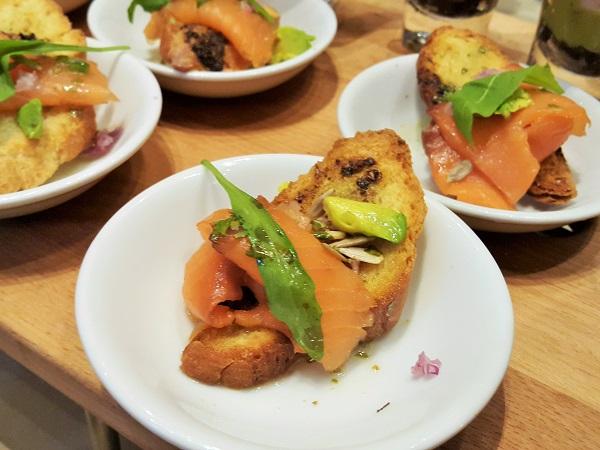 Smoked salmon carpaccio with avocado cubes. - RH