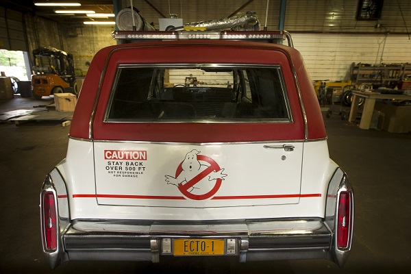 Ecto-1 on the set of Columbia Pictures' GHOSTBUSTERS.