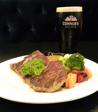 The X Steak with CONNOR'S Infused Sauce RM64.00++ comes with 1 full pint of CONNOR'S Stout Porter