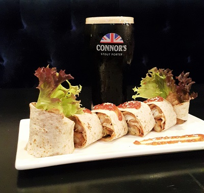 Fish Popiah Wrap with CONNOR'S Infused Dipping Sauce RM32.00++ comes with 1 full pint of CONNOR'S Stout Porter