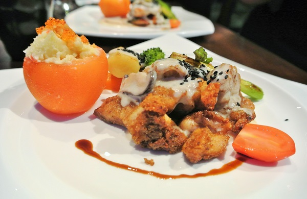 Chicken with special mushroom sauce.